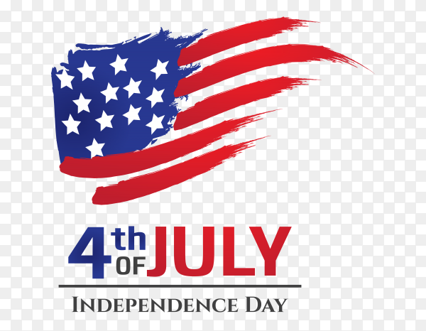 USA flag with brush stroke style independence day america PNG