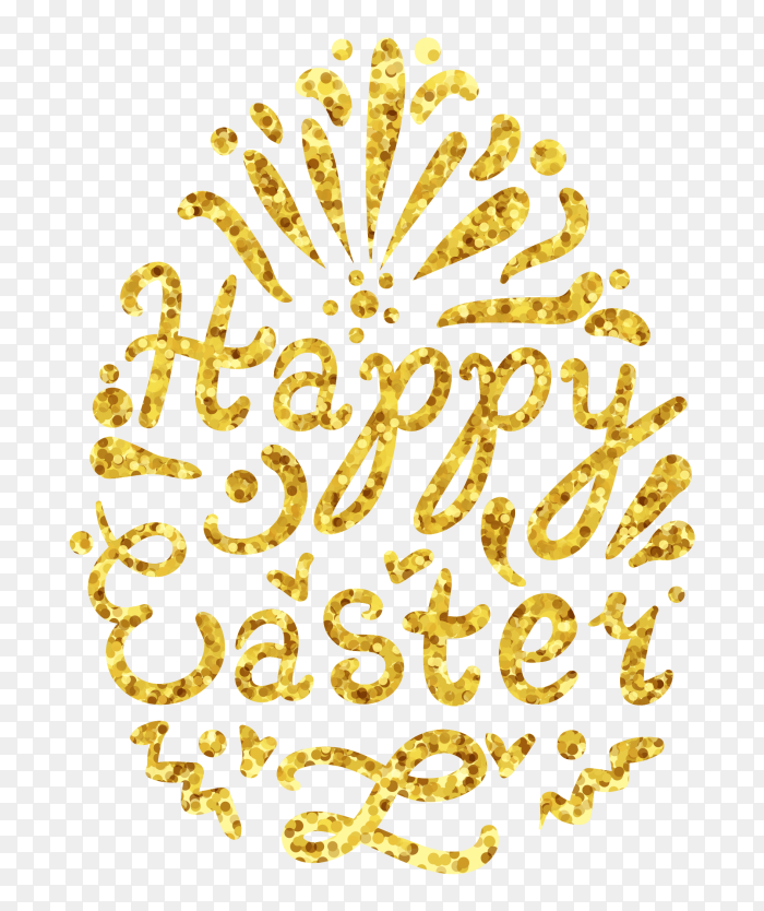 Vintage gold happy easter lettering in egg PNG