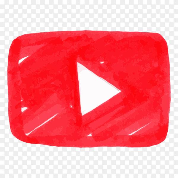 Youtube logo icon social media hand drawn PNG