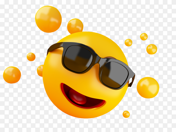 3D illustration emoji icons with facial expressions social media concept PNG