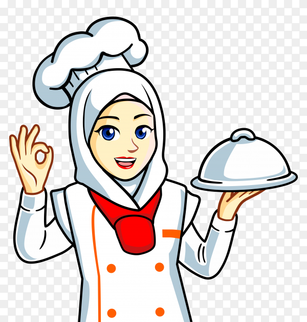 Chef muslim woman in hijab transparent background PNG