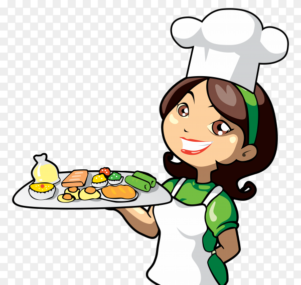 Chef with delicious appetizers transparent background PNG