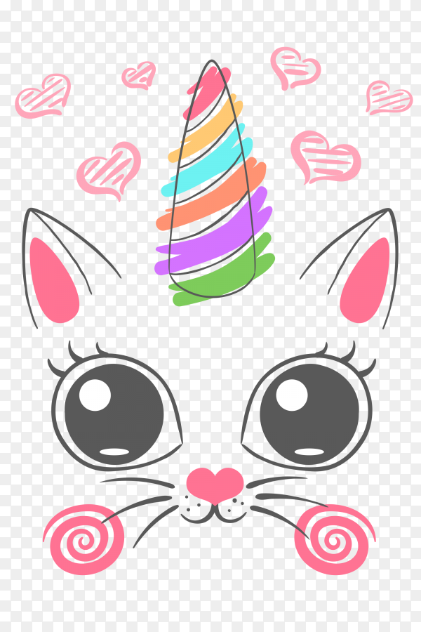 Cute kitten unicorn illustration PNG