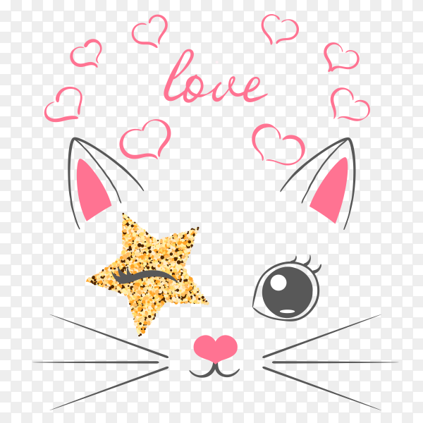 Cute kitten unicorn vector PNG
