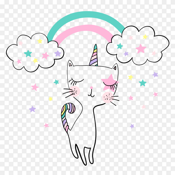 Cute kitty vector design t-shirt printing PNG