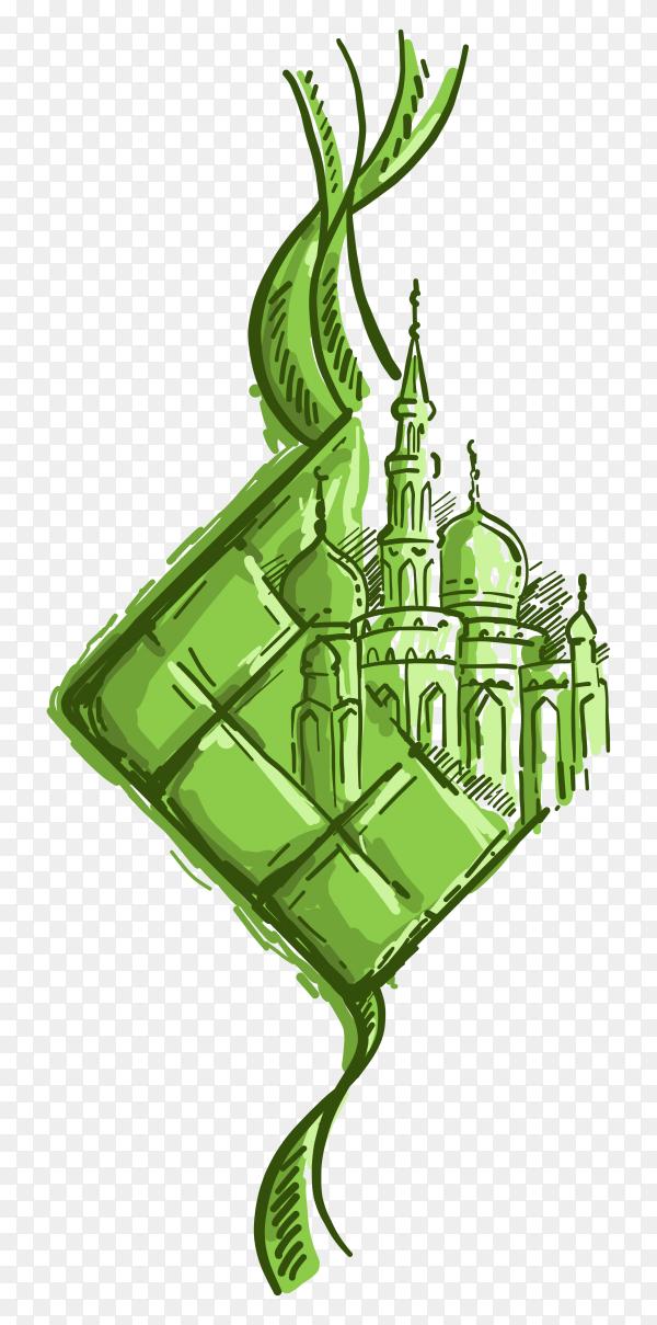 Hand drawn Illustration of Eid Mubarak Ketupat and mosque vector PNG