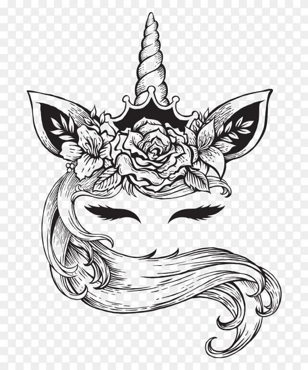 Magical unicorn tattoo Vector PNG