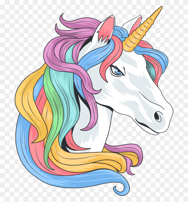 Ranbow hair unicorn Vector PNG