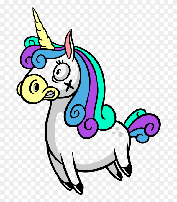 Scared unicorn Vector PNG