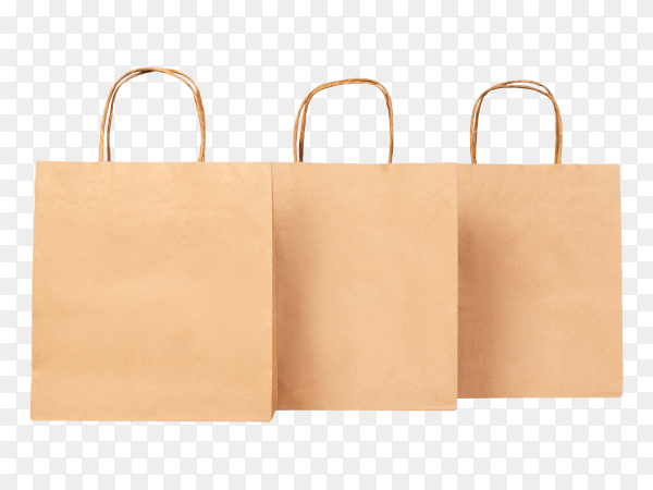 Three paper bag transparent background PNG