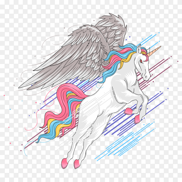 Uncorn full color rainbow wings Vector PNG