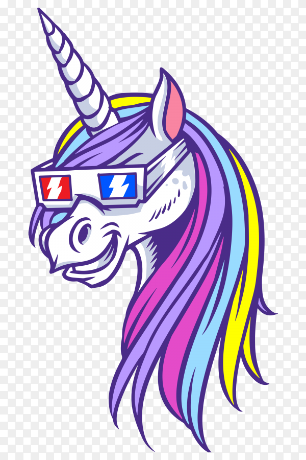 Unicorn 3D shades Vector PNG