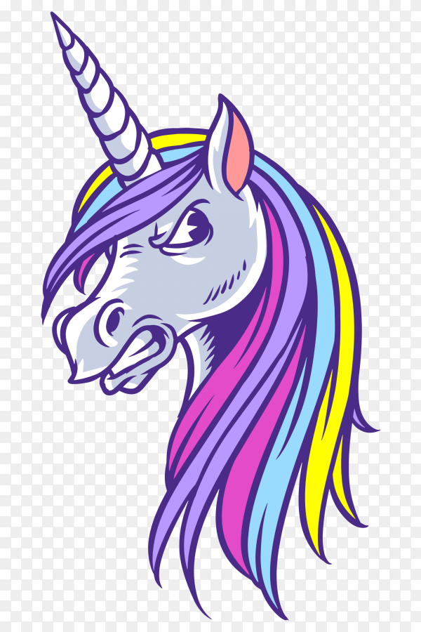 Unicorn angry Vector PNG