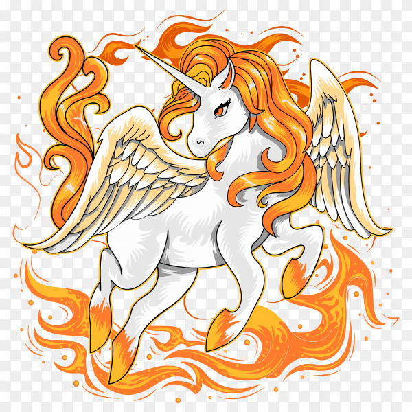 Unicorn fire horse Vector PNG