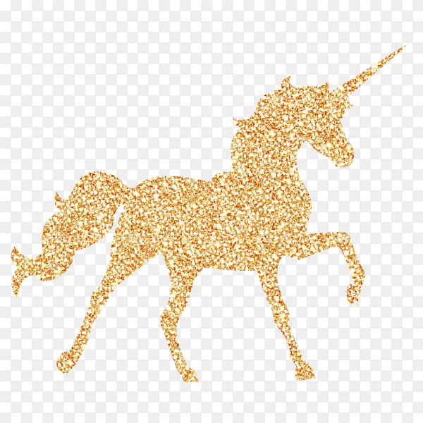 Unicorn with gold glitter Vector PNG