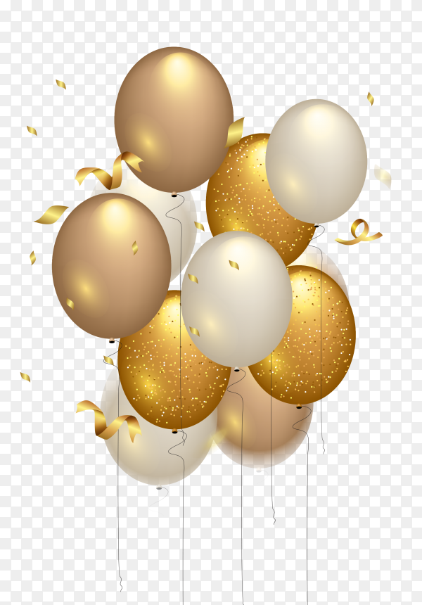 Happy birthday celebration – gold balloon PNG