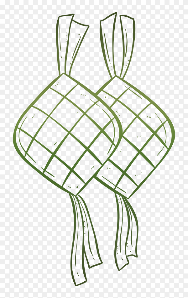 ketupat illustration with doodle style vector PNG