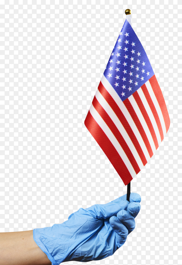 American doctor holding USA flag transparent PNG