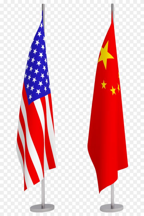 China and USA flag pole podium standing image PNG