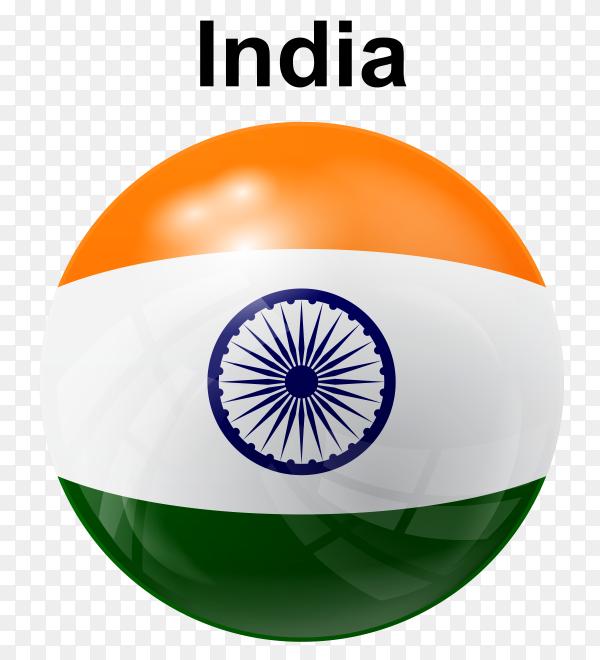 Circle glossy flag india transparent PNG