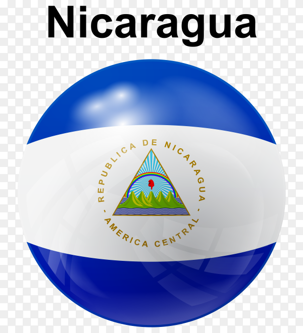 Circle glossy flag of Nicaragua on transparent background PNG