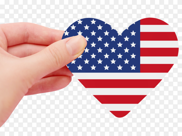Female hand holds american flag heart shaped transparent PNG