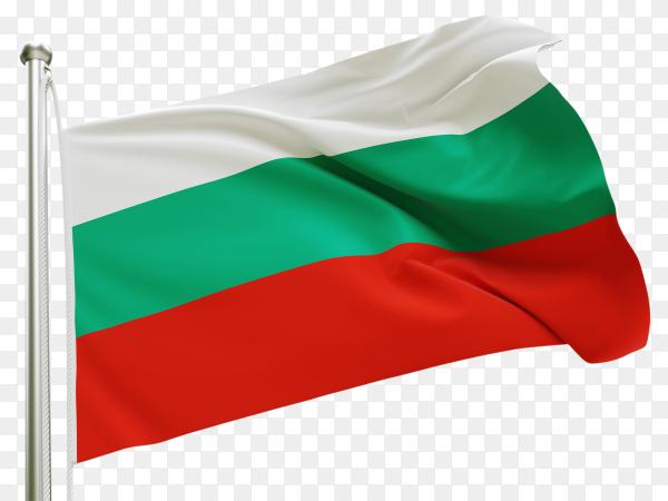 Flag Bulgaria waving on transparent background PNG