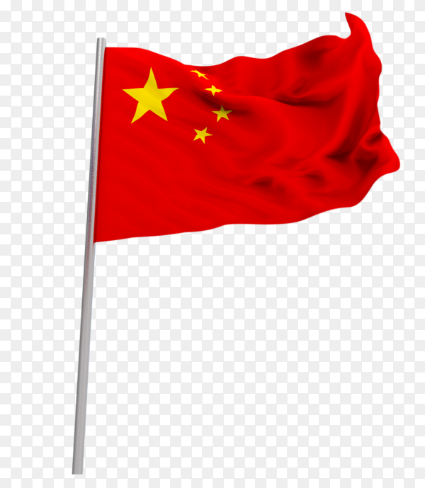 Flag China national waving on transparent background PNG