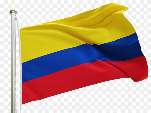 Flag Colombia waving on transparent background PNG