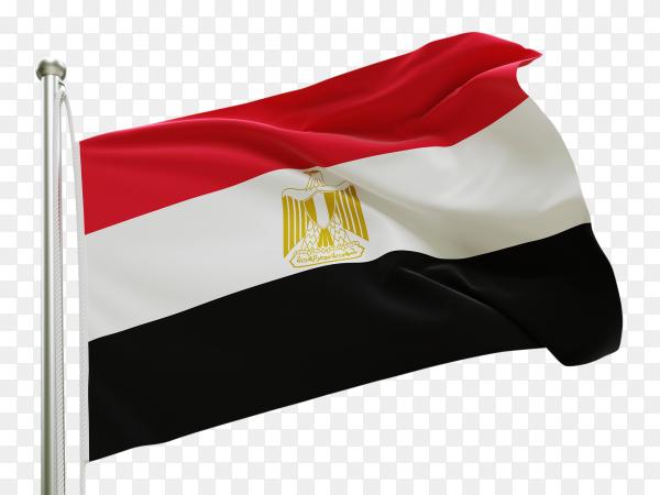 Flag Egypt waving on transparent background PNG