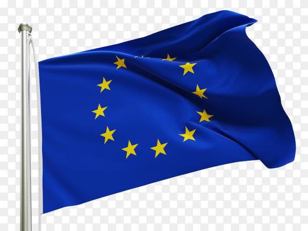 Flag Europe waving on transparent background PNG