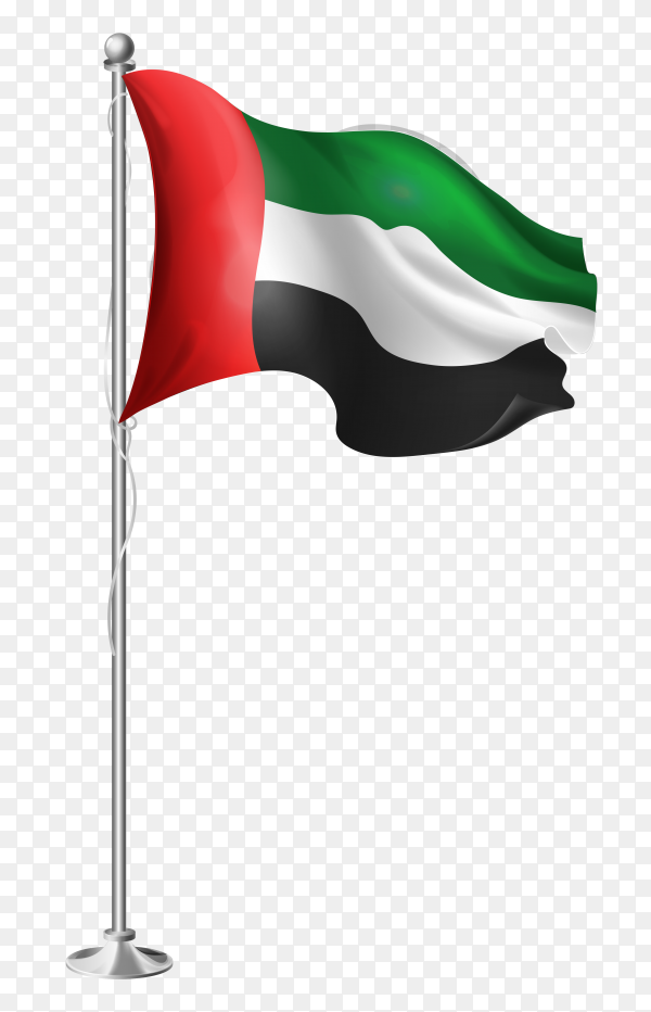 Flag of united arab emirates on steel poles waving vector PNG