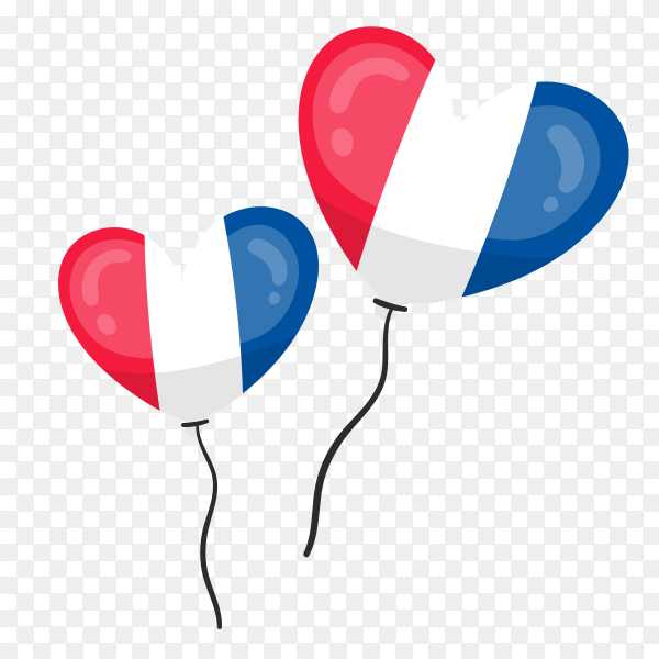 France flag in the shape of a heart transparent PNG