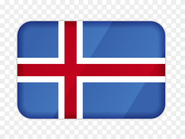 Iceland flag icon on transparent background PNG