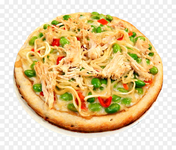 Pizza with chicken pieces on transparent background PNG