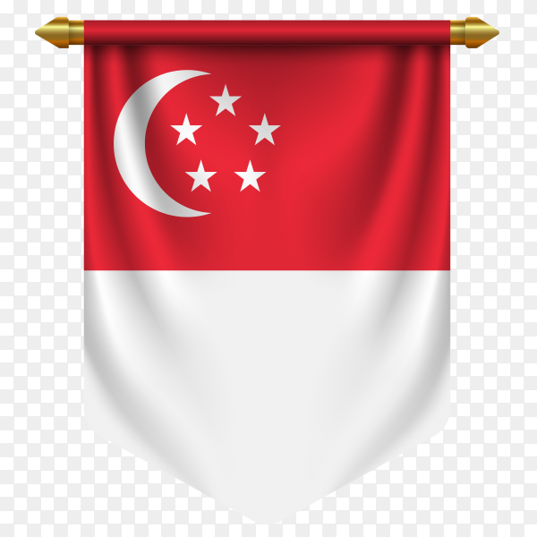 Realistic pennant flag Singapore vector on transparent background PN