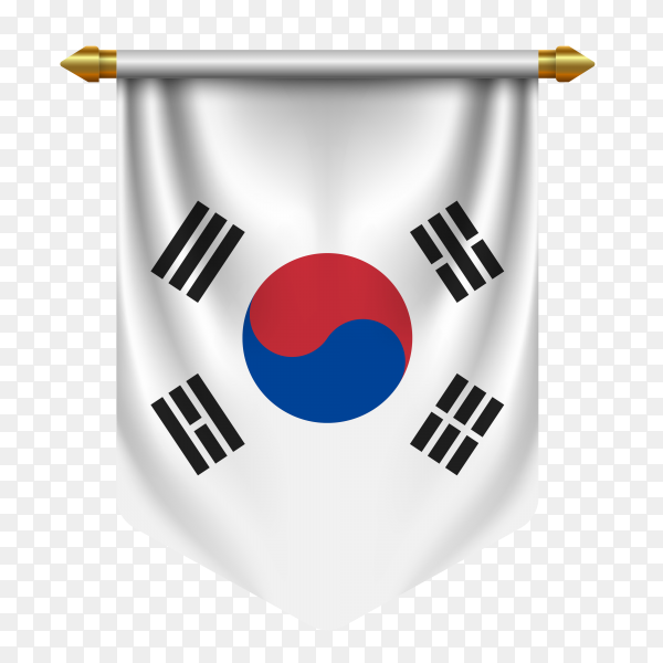 Realistic pennant flag South Korea vector on transparent background PNG