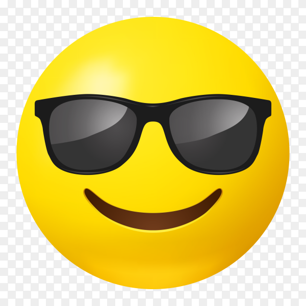 Smiling face emoji with sunglasses vector PNG - Similar PNG