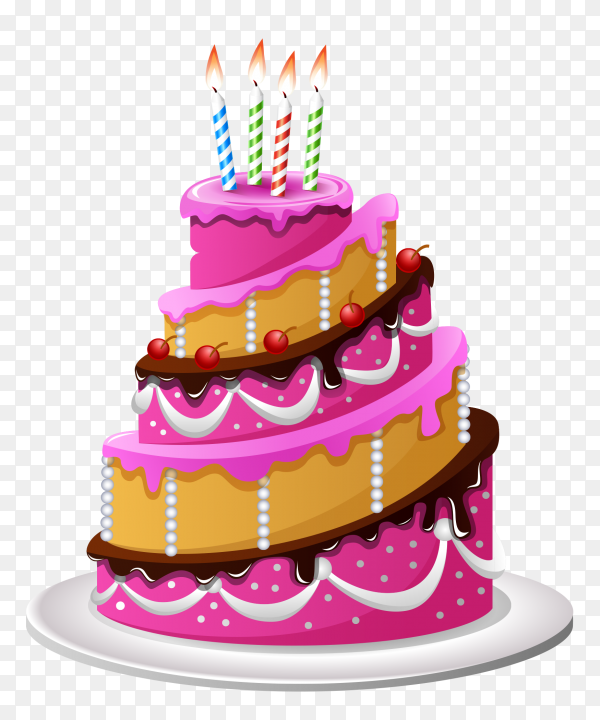 Birthday party cake with candles transparent PNG