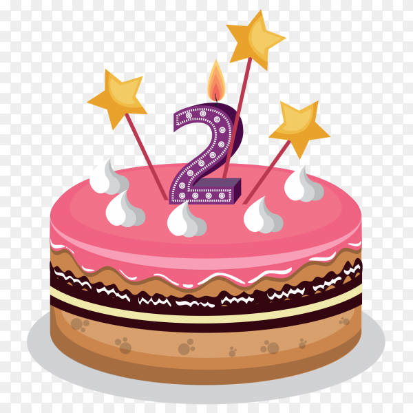 Birthday cake number 2 vector PNG