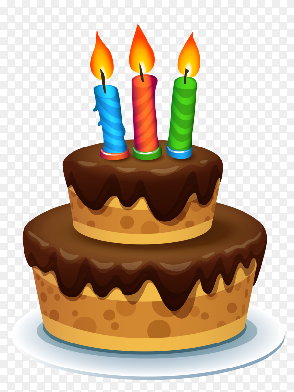 Happy birthday cake with 3 candle vector PNG