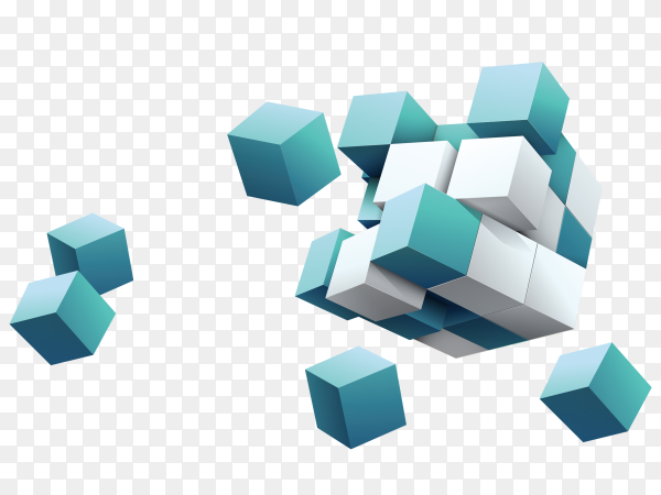 3D White and blue cubes vector PNG
