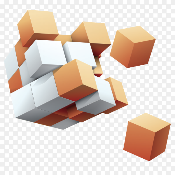 3D cubes shapes on transparent background PNG