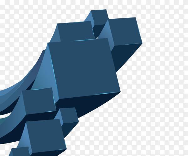 3D design cubes Dark blue on transparent PNG
