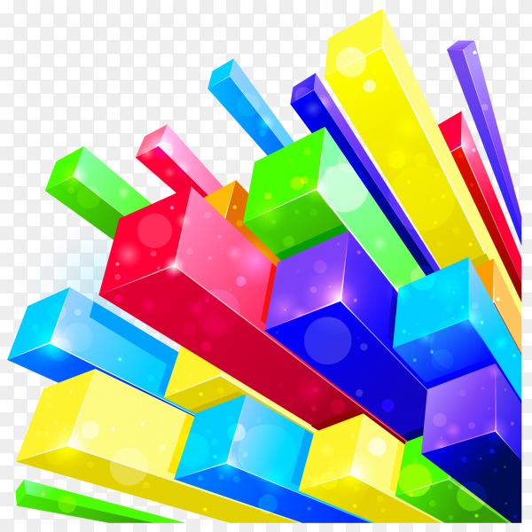 3d abstract landscape of cubes on transparent PNG