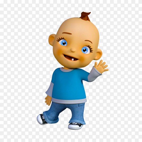 A happy kid say bye Clipart PNG