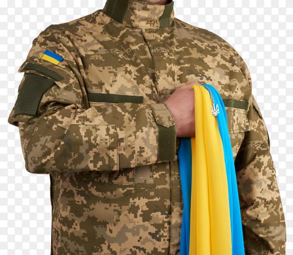 A warrior dressed military uniform holds ukraine flag on transparent PNG