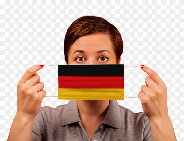 A woman wearing german medical protective mask on transparent background PNG