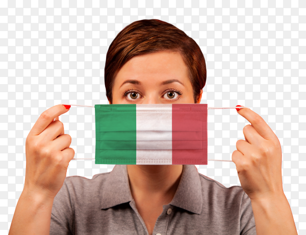 A woman wearing italian medical protective mask on transparent background PNG