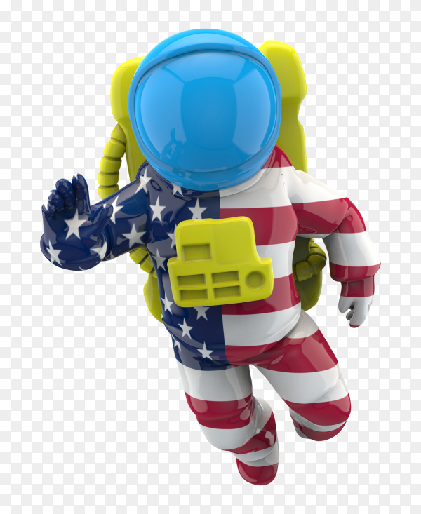 American astronauts on space on transparent background PNG